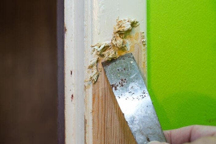 Scraping paint off of a door frame