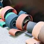 rolls of sandpaper in various colors