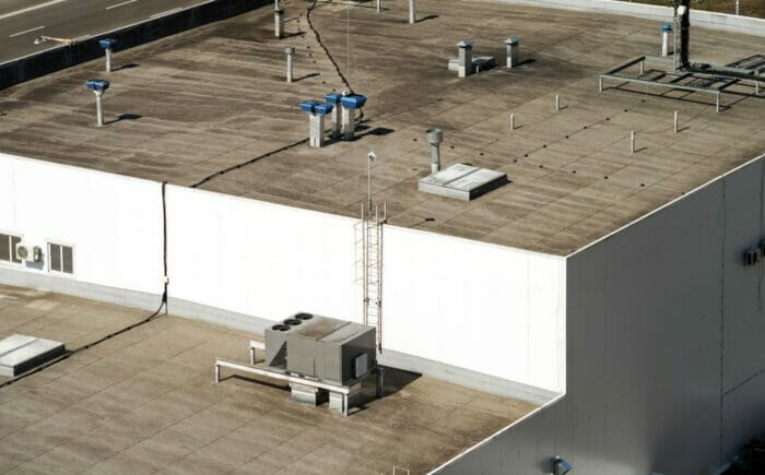 view looking down on the roof of a commercial building